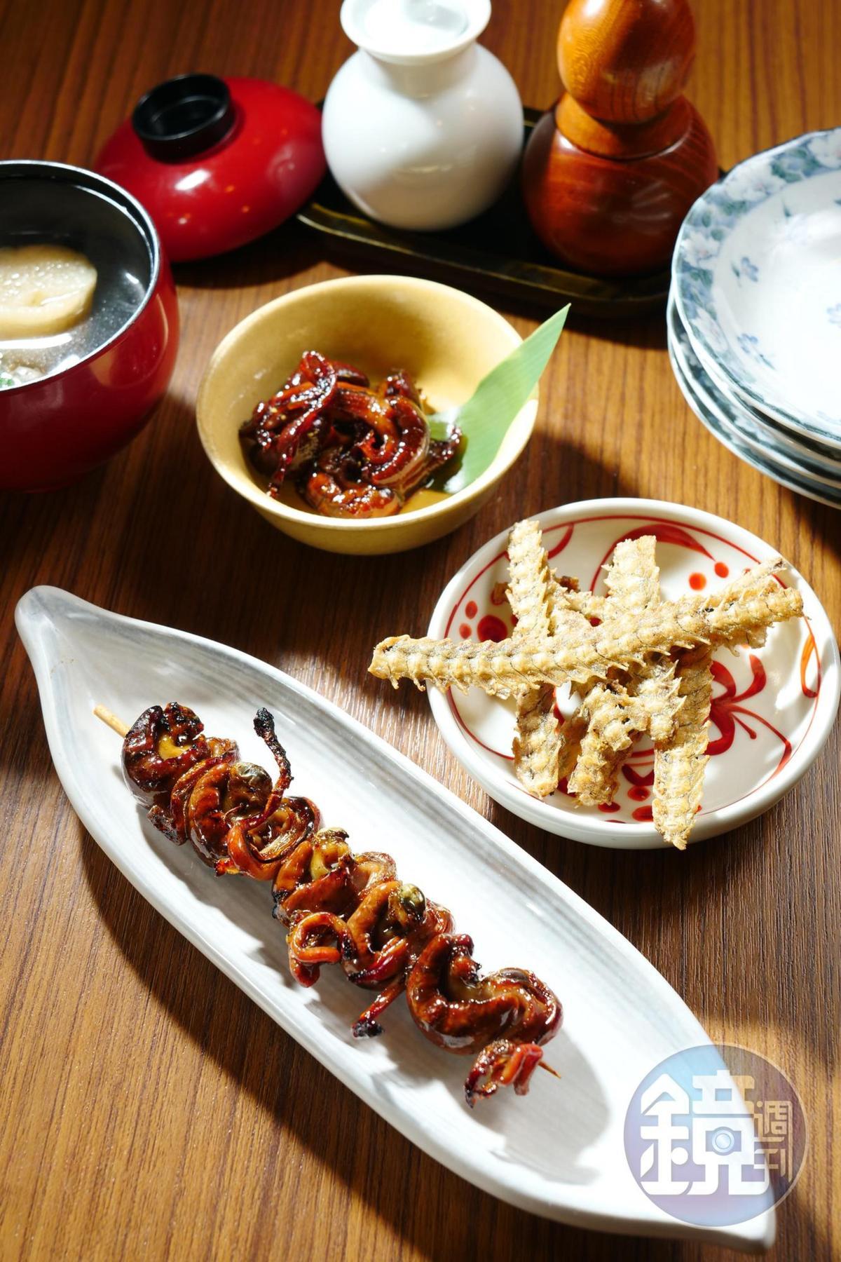 小菜也把鰻魚用得淋漓盡致,前起依序為「鰻肝燒」(售價待補)、「鰻骨」(售價待補)、「鰻肝煮」(售價待補)。