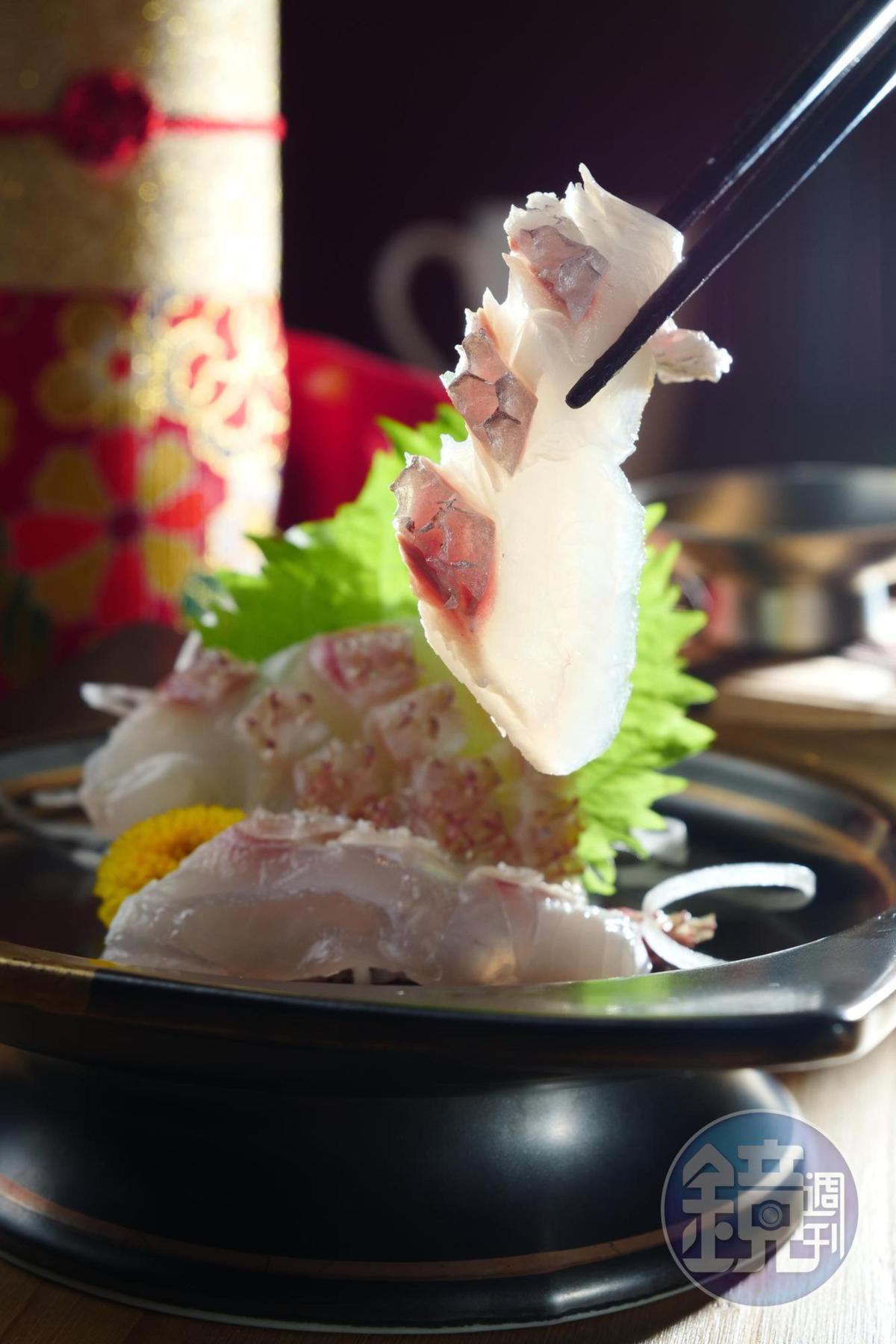 「真鯛湯霜造」改變魚皮質地,魚肉也更添膠滑感。