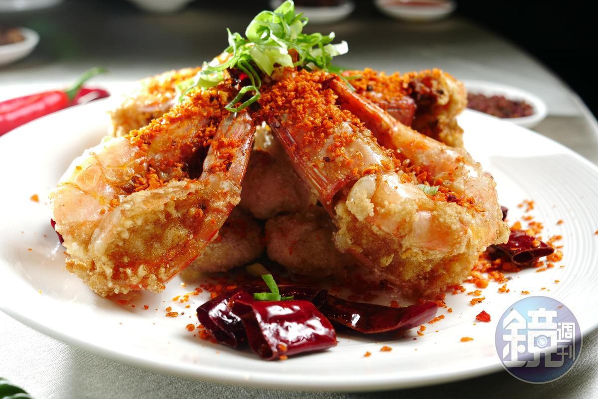 「避風塘明蝦」光明蝦每隻成本就要200多,蝦肉飽滿Q彈。(1,480元/4隻)