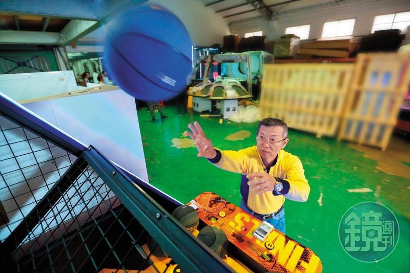 呂坤謀從雜貨店老闆變中國市占最高的投籃機生產商,去年起整合線上線下資源,推廣投籃電競。