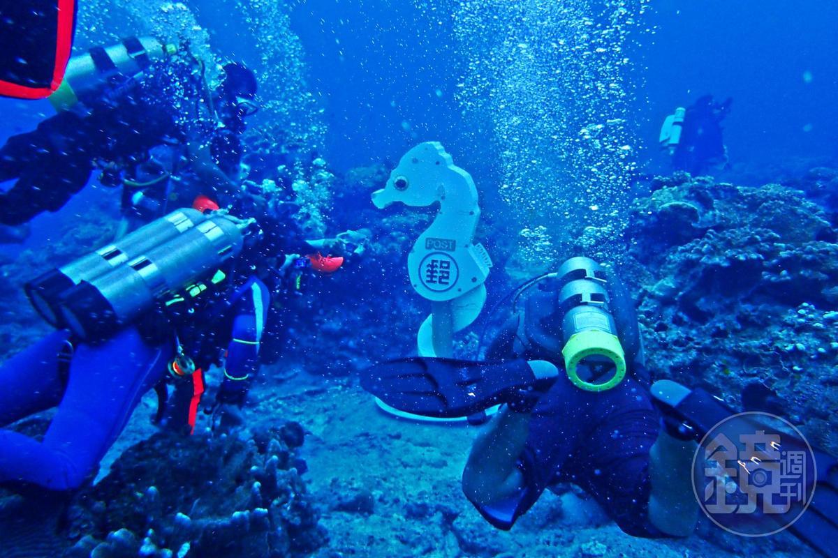 以海馬為造型的豆丁海馬海底郵筒,座落在岩盤之上。