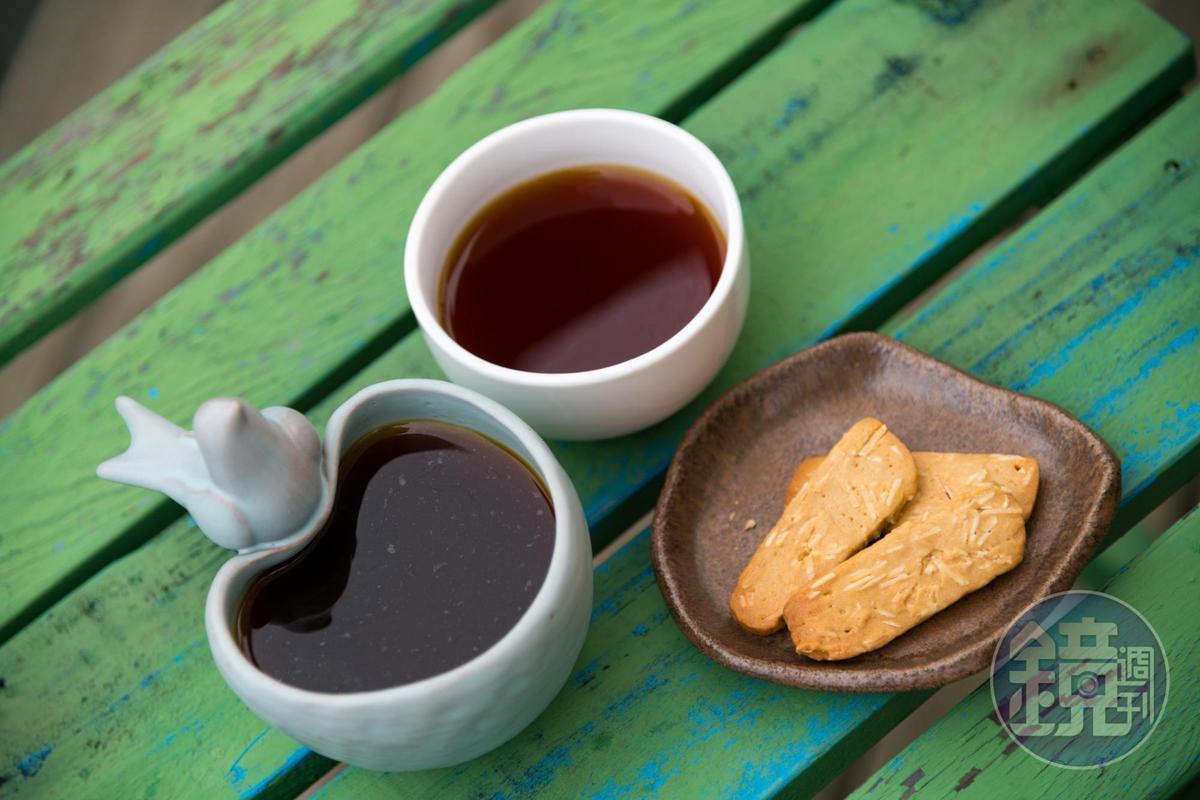 精品手沖黑咖啡「燕子」, 為淺培獨家配方豆,口感甘醇。(150元/杯)