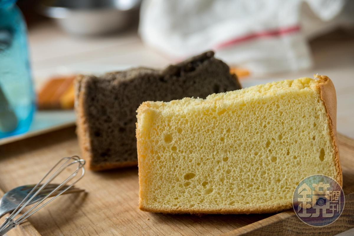 用宜蘭在地米磨粉取代麵粉的米戚風蛋糕,濕潤彈Q,口感鬆綿。(白米60元/片、紫米70元/片)