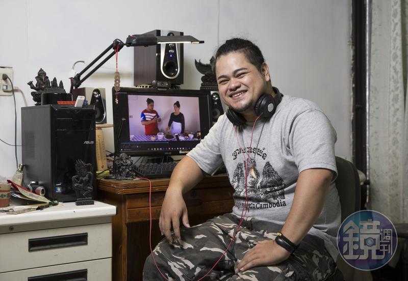 陳玉旺經營「越南阿旺」粉絲頁,翻譯越南網紅或MV的影片,也跟媽媽拍柬埔寨料理教學影片。