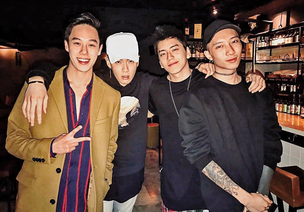 洪文安的男友名叫Mai(左1),是在社群網站頗有知名度的DJ,與柯震東(左2)、王大陸(右2)都是好朋友。(翻攝自DJ Mai IG)