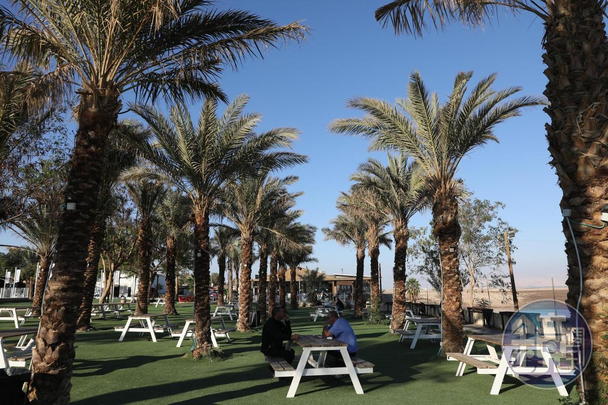 在死海北部的「NEVE MIDBAR BEACH, NORTH DEAD SEA」,將岸邊整理成綠地,以色列人喜歡週末攜家帶眷來這裡,對著死海美景燒烤玩耍。