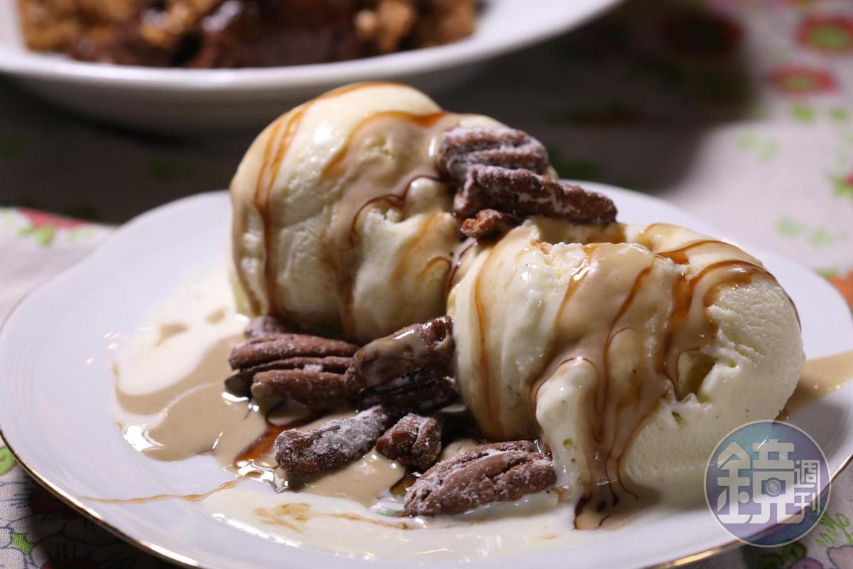 香草冰淇淋配核桃,同樣是讓人欲罷不能的甜點。(120新謝克爾套餐菜色,約NT$1,028)
