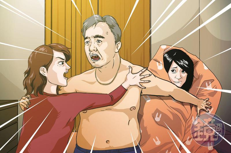前職棒球星王傳家(中)遭妻子(左)抓姦在床,當時王傳家與小三(右)全身赤裸從睡夢中驚醒,並與元配爆發激烈口角。