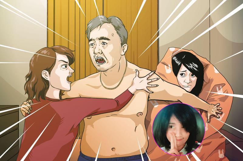 前職棒球星王傳家(中)遭妻子(左)抓姦在床,當時王傳家與小三(右)全身赤裸的從睡夢中驚醒,並與元配爆發激烈口角。