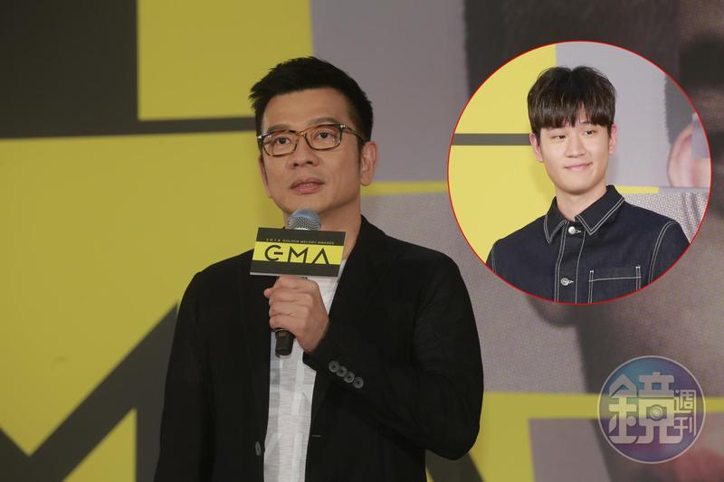 第29屆金曲獎由陳子鴻出任金曲獎評審團主席,在今天公布的入圍記者會中,周興哲(紅圈者)負責公布入圍名單。