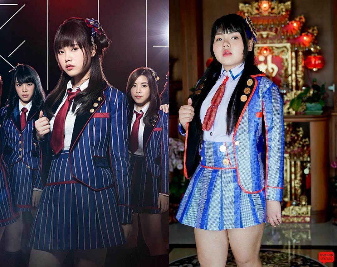 BNK48的制服,在Sine身上,領帶變成了香腸。(翻攝自framsook_lek_lek IG)