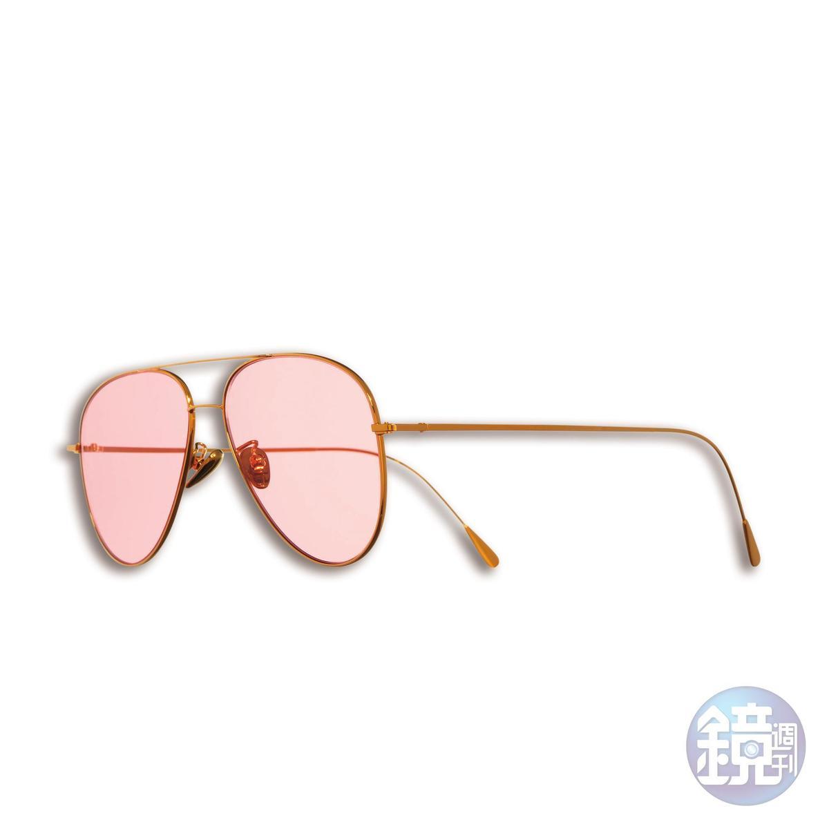 CUTLER & GROSS金色鏡框粉色鏡片飛行太陽眼鏡,NT$17,000。