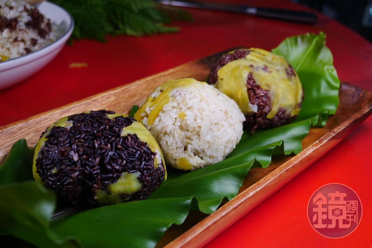 以木桶烹煮的「曙光米三色飯」口感香糯,有熱情的甜度。(莎娃綠岸,450元套餐菜色)