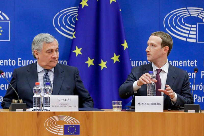 馬克‧祖克伯在歐洲議會上接受質詢時的畫面。(翻攝自馬克‧祖克伯臉書)
