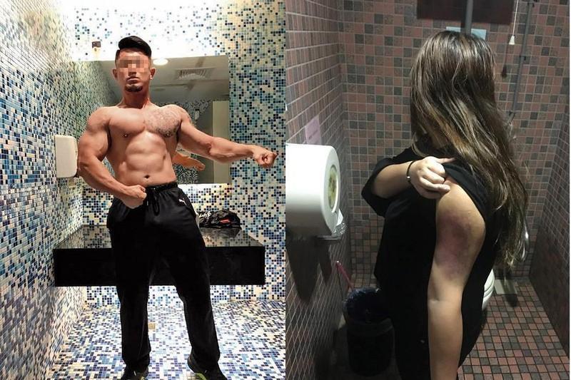 朱嫌(左)熱愛健身,還曾是「館長」的員工,但一身肌肉竟被來殺害女友,還遭爆曾對妻子(右)家暴,「打她頭灌她肚子」導致妻子重傷。(翻攝畫面)