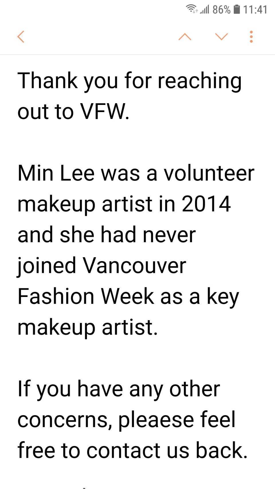 溫哥華時裝週主辦單位回信:「李敏只是2014年的義工,她從未當過溫哥華時裝週首席彩妝師。」