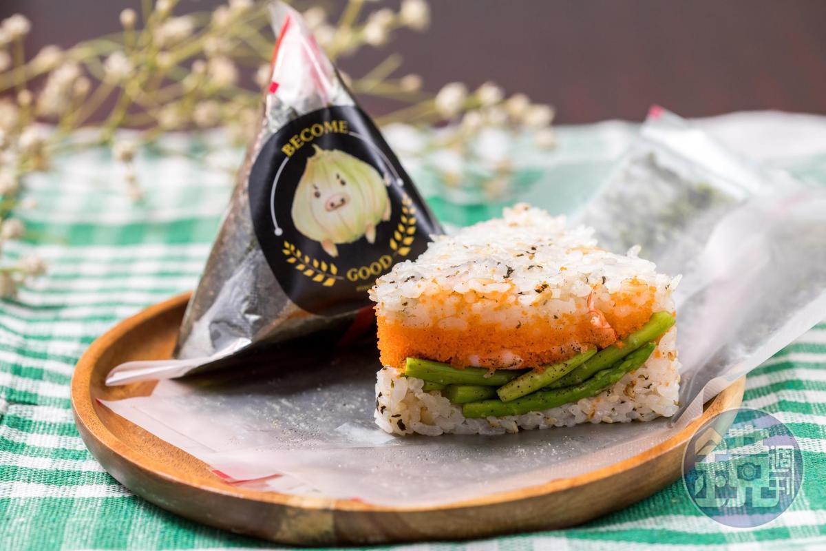BG遇飯糰健康清爽口味的「鮮蝦明太子」。(55元/個)