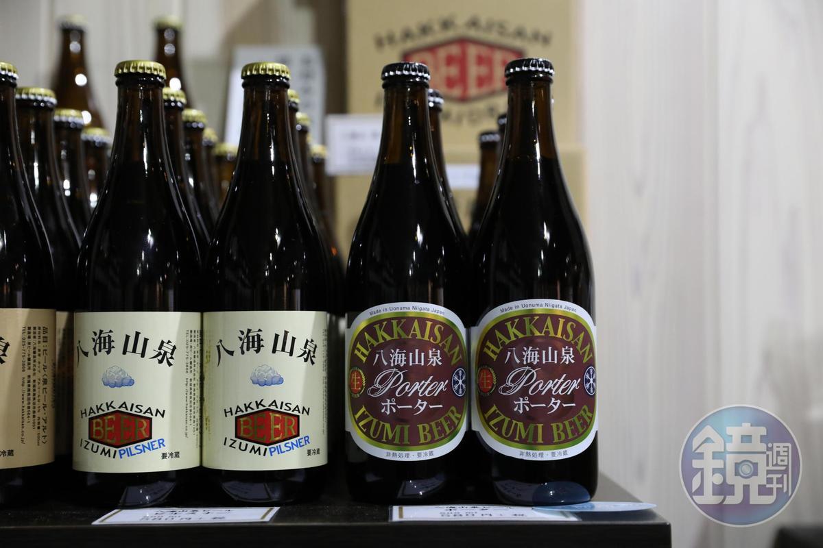 八海釀造「泉」精釀啤酒目前推出小麥、大麥和波特三種類型,未來也將有IPA。(580日圓/瓶,約NT$157,台灣未上市)