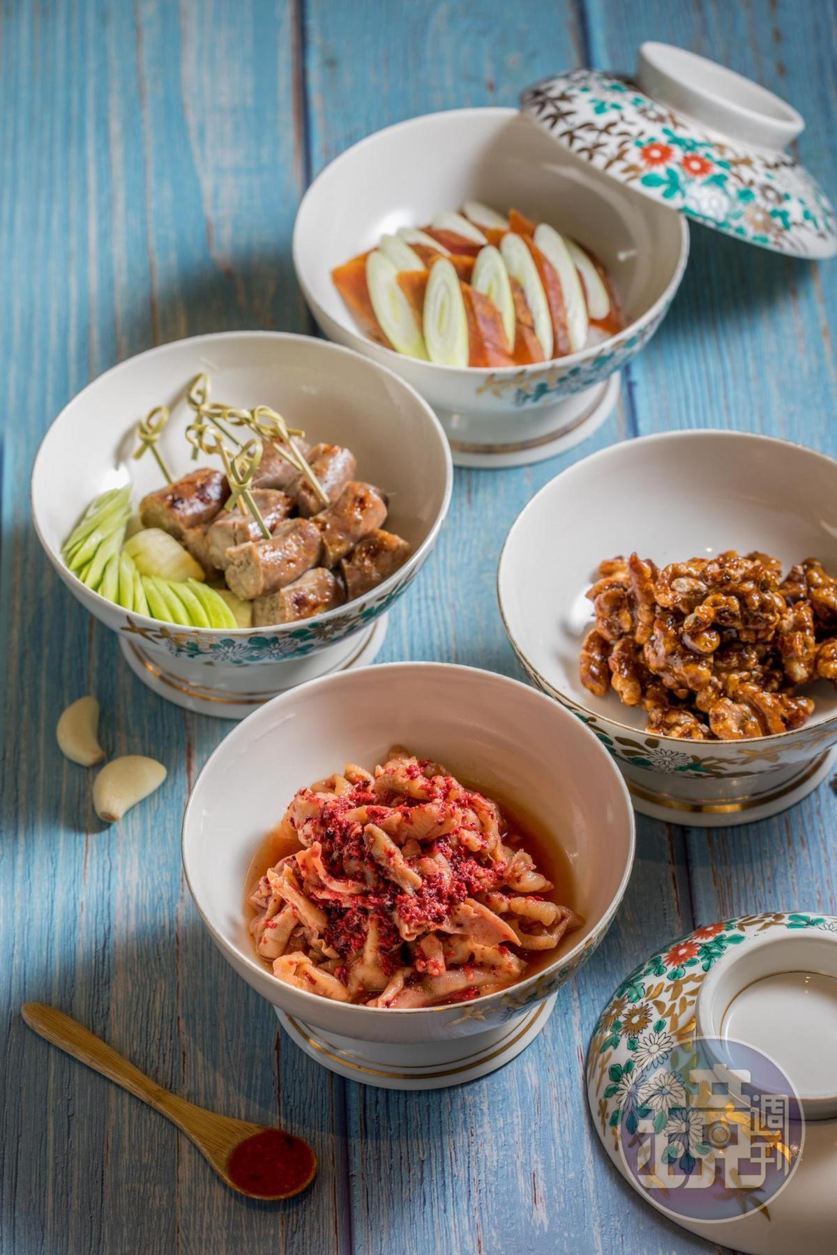 「蓬萊閣四蓋碗」吃得到紅麴鵝掌、烏魚子、手工現灌香腸和黑糖核桃,可依預算做菜色變化。(1,680元/份)
