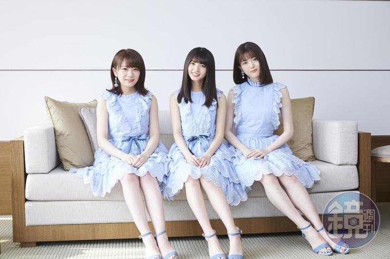 乃木坂46成員秋元真夏(左起)、齋藤飛鳥與松村沙友理低調來台拍廣告。