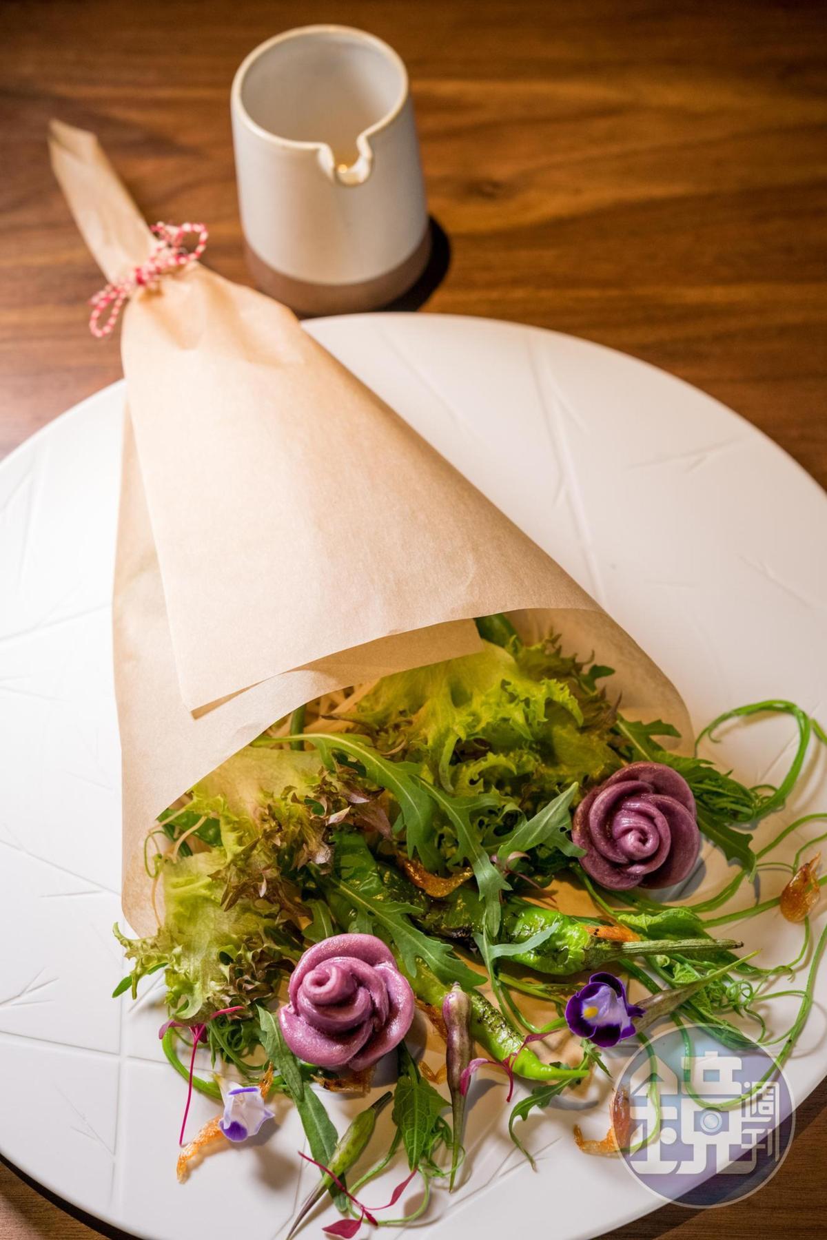 「普羅萬的玫瑰」用紫地瓜饅頭玫瑰、花生醬和榨菜,組合出亞洲風味日的沙拉。(380元/份)