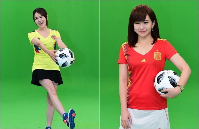 連珮貝(右)的足球知識幾乎都是靠老公幫她補習而來,莊雨潔(左)過去都會跟朋友一起看世足賽,對球員小有研究。(華視提供)