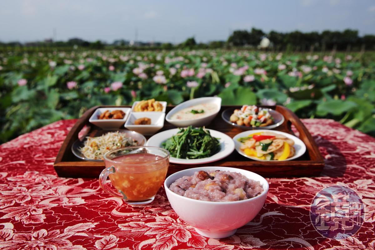 賞蓮之餘,參加兩天一夜的農食旅,就能在蓮田邊,品嘗蓮子早餐。