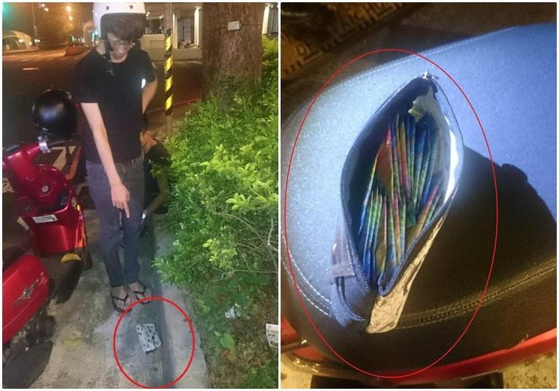 黃男將毒品放在皮包裡企圖丟包,不料遭警方查獲,共有22包毒咖啡。(警方提供)