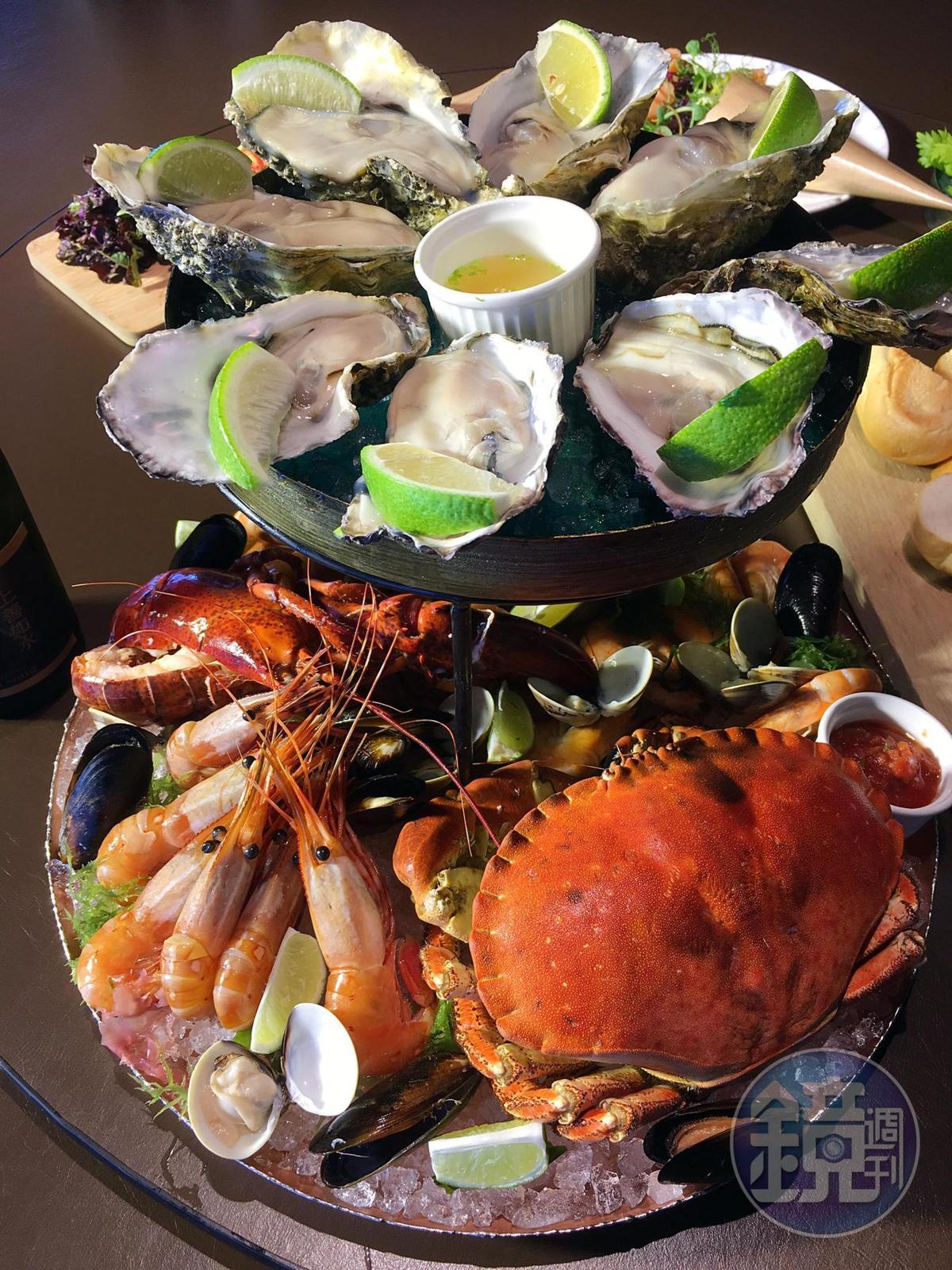 「華麗海鮮塔」吃得到廣島和美國生蠔,波士頓龍蝦、麵包蟹、牡丹蝦、無毒白蝦等近10種生猛海味。(3,980元/6人份)