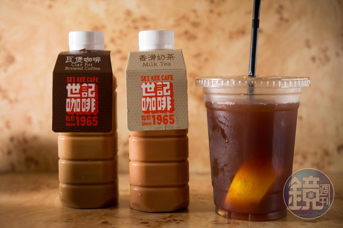 「茶冰凍檸茶」「祕製香滑奶茶」「炭燒瓦煲咖啡」是高人氣飲品。(由右至左,澳門幣18~20元/杯,約NT$65~72)