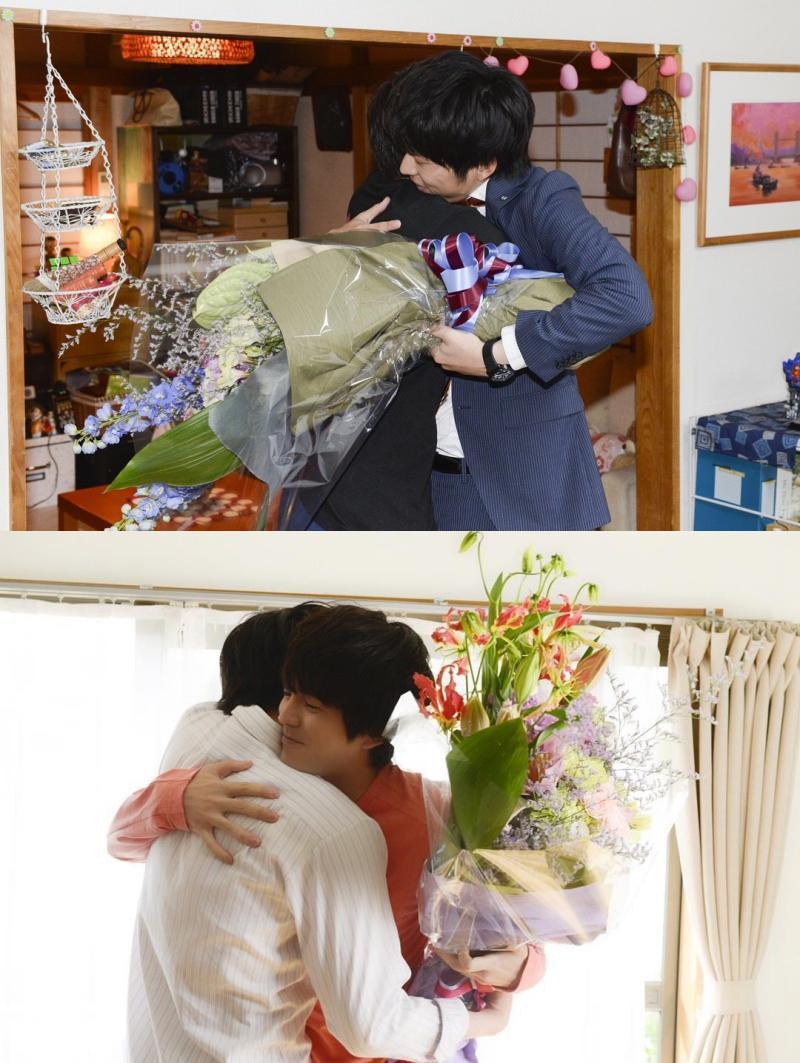 田中圭與林遣都為彼此的殺青戲互相送花擁抱,好感情連工作人員都常問兩人是否假戲真作?(合成自大叔的愛ig)