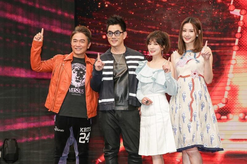 真人選秀節目《我要當女一》,參加來賓及主持人吳宗憲(左起)、任賢齊、賈靜雯、安心亞等,陣容豪華。(TVBS提供)