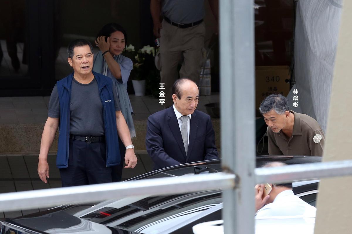 前立法院長王金平到場致意,離開時由林堉璘長子林鴻彬送客。