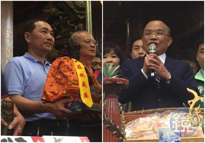 侯友宜(左圖)參加大眾廟祭典,為大眾爺迎神上轎,而蘇貞昌(右圖)則是今中午到大眾廟參拜。