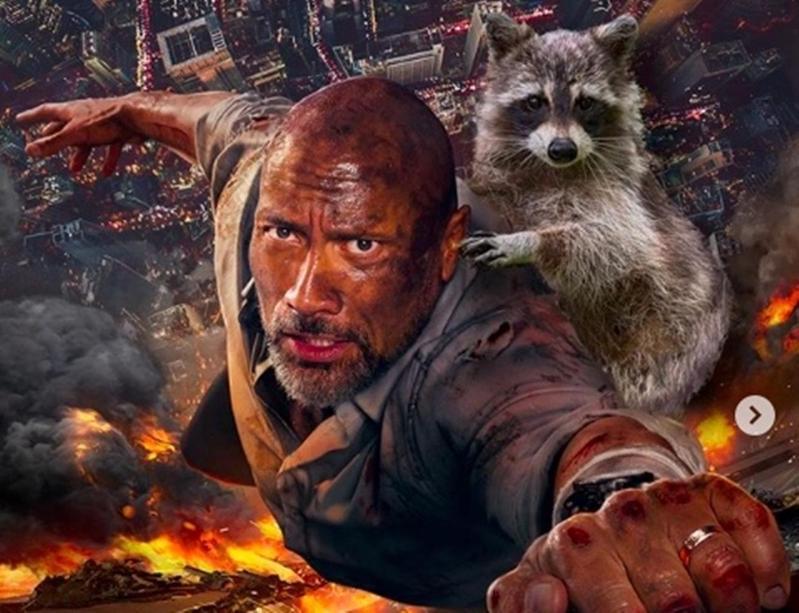 為了呼應時事,巨石強森請來浣熊跟他一起爬大樓。(翻攝Instagram)