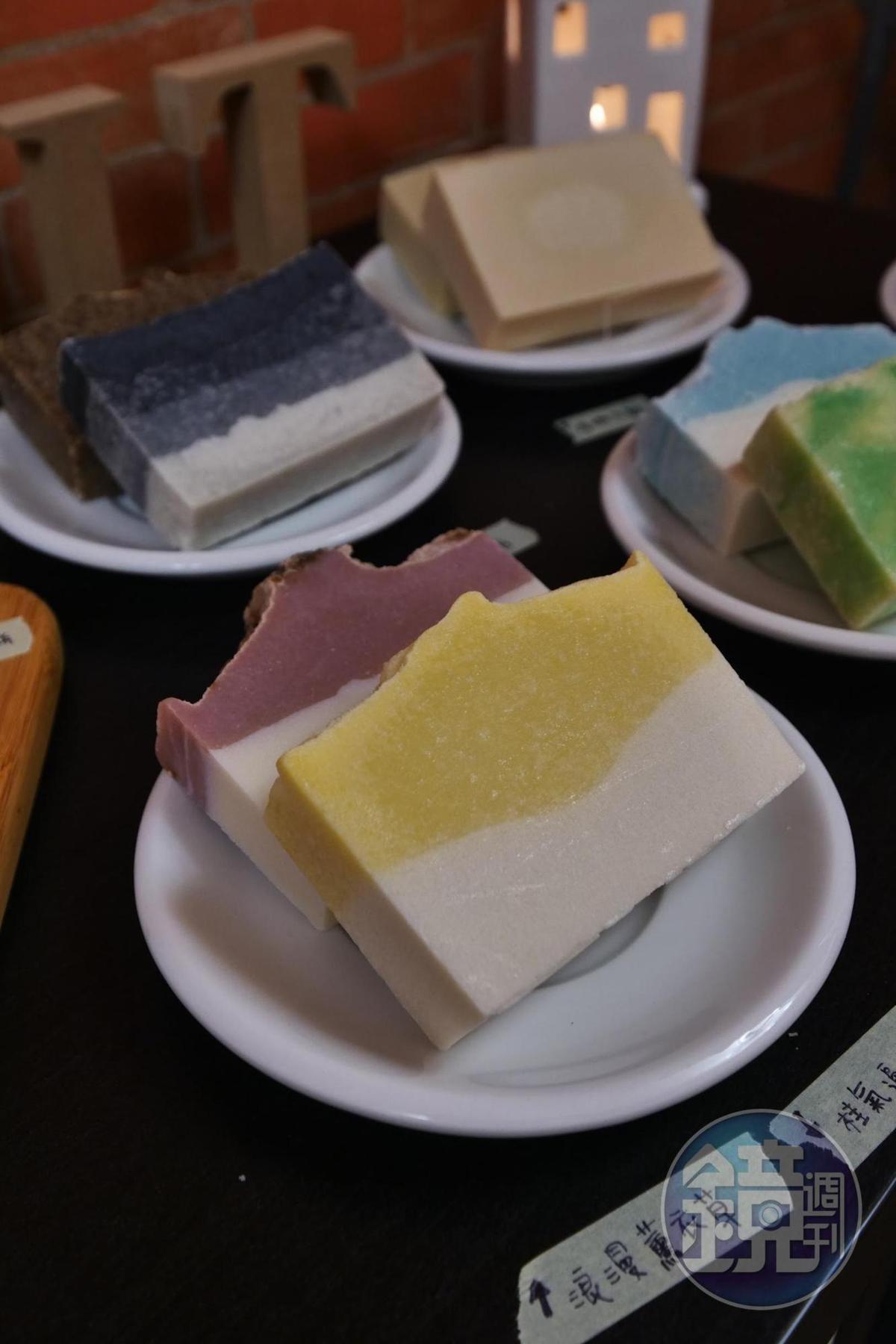 協進會裡頭,也有基隆年輕創業家自製的手工香皂。(199元/塊)