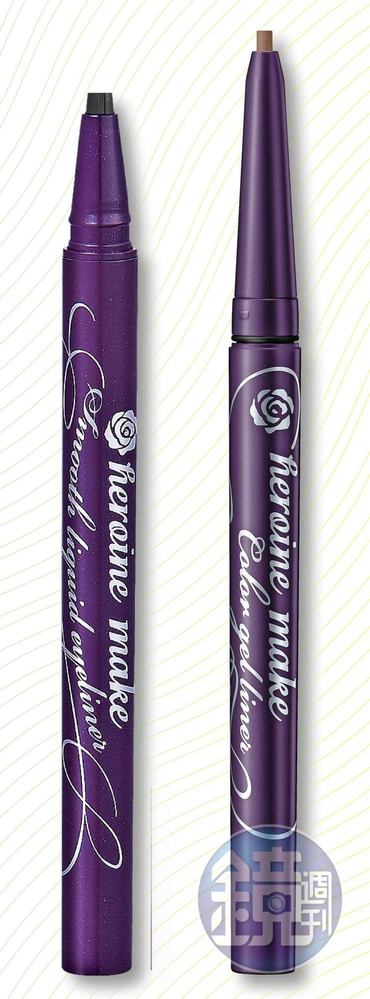 KISSME花漾美姬淚不落絲滑瞬色眼線膠筆(深棕)(右),NT$330;KISSME花漾美姬零阻力絲滑濃黑眼線液筆(左),NT$350。