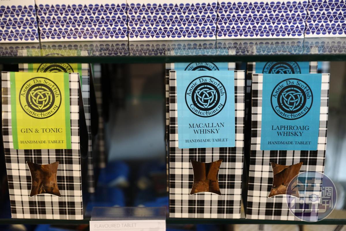 城堡商店裡賣的餅乾,也是威士忌口味,還可挑選喜愛的品牌。(6.5英鎊/盒,約NT$262)