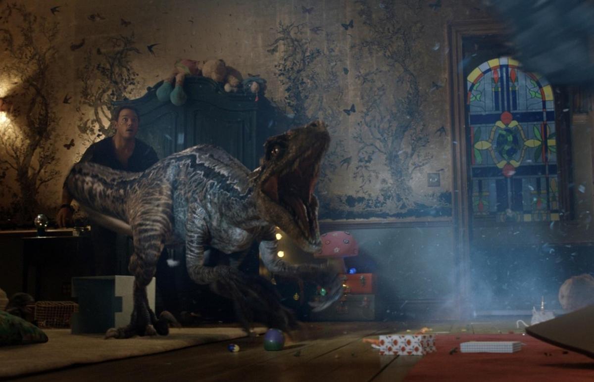 《侏羅紀世界:殞落國度》終於在北美上映,粗估首週末吸金1.5億台幣,恐龍的魅力的確驚人。(UIP提供)