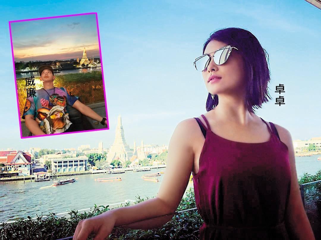 威廉與卓君澤以男女友視角為對方拍下在泰國的身影,身後是同個景色,只是天色不同。(翻攝自威廉臉書及卓君澤臉書)