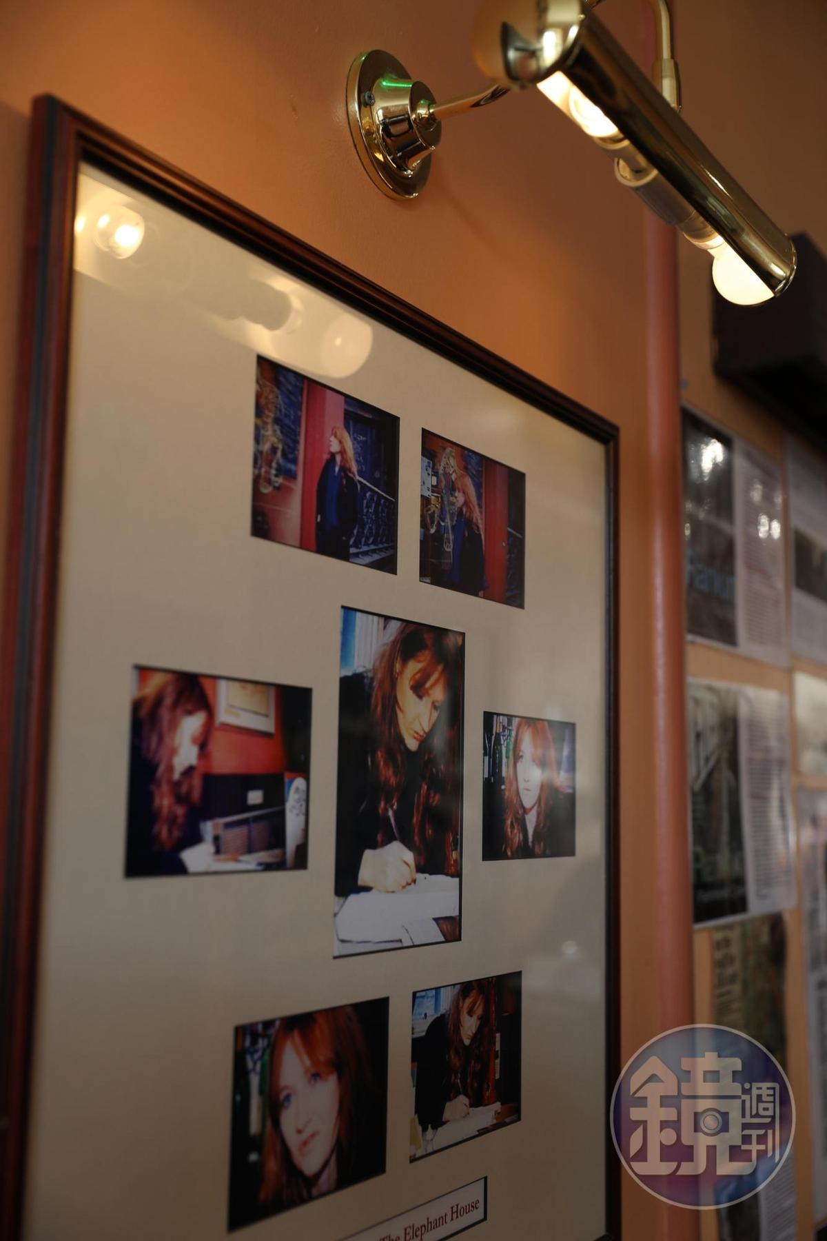咖啡館牆上裝裱著J.K.羅琳的照片。
