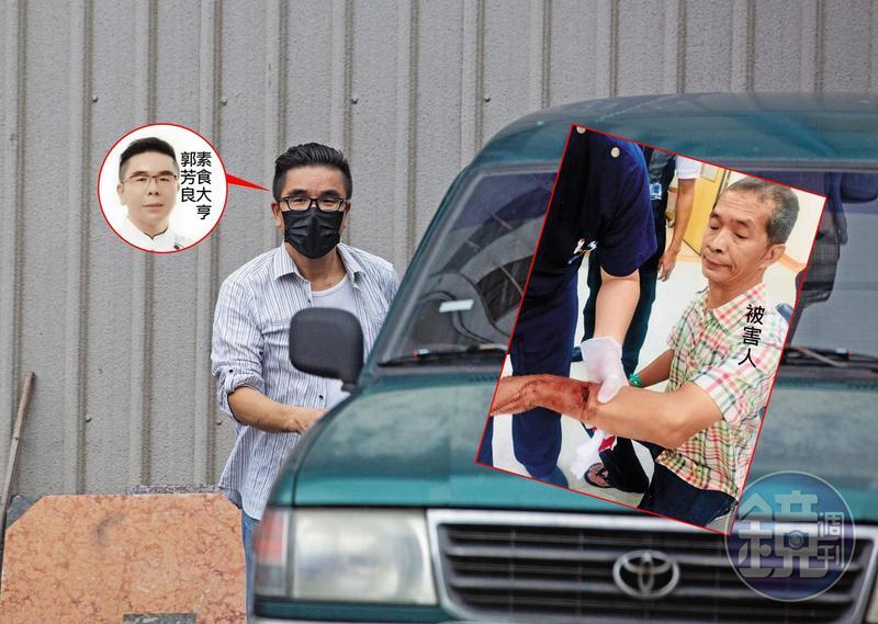 昔日素食大亨郭芳良行事相當低調,6月22日穿著條紋襯衫、戴著黑色口罩上了綠色廂型車。