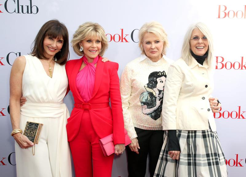 瑪麗史汀柏格(左起)、珍芳達、甘蒂絲柏根、黛安基頓四人一同演出《高年級姐妹會》,除了甘蒂絲柏根,其餘三人都拿過奧斯卡獎。而除了瑪麗史汀柏格,其他三人都先後與男星華倫比提交往過。(東方IC)
