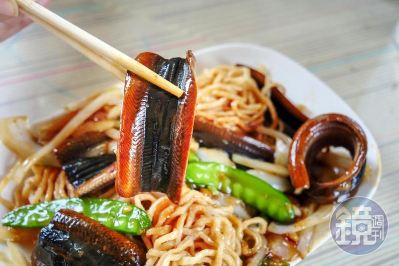 「乾炒鱔魚意麵」吃得到微炙的焦香鑊氣。(190元/份)