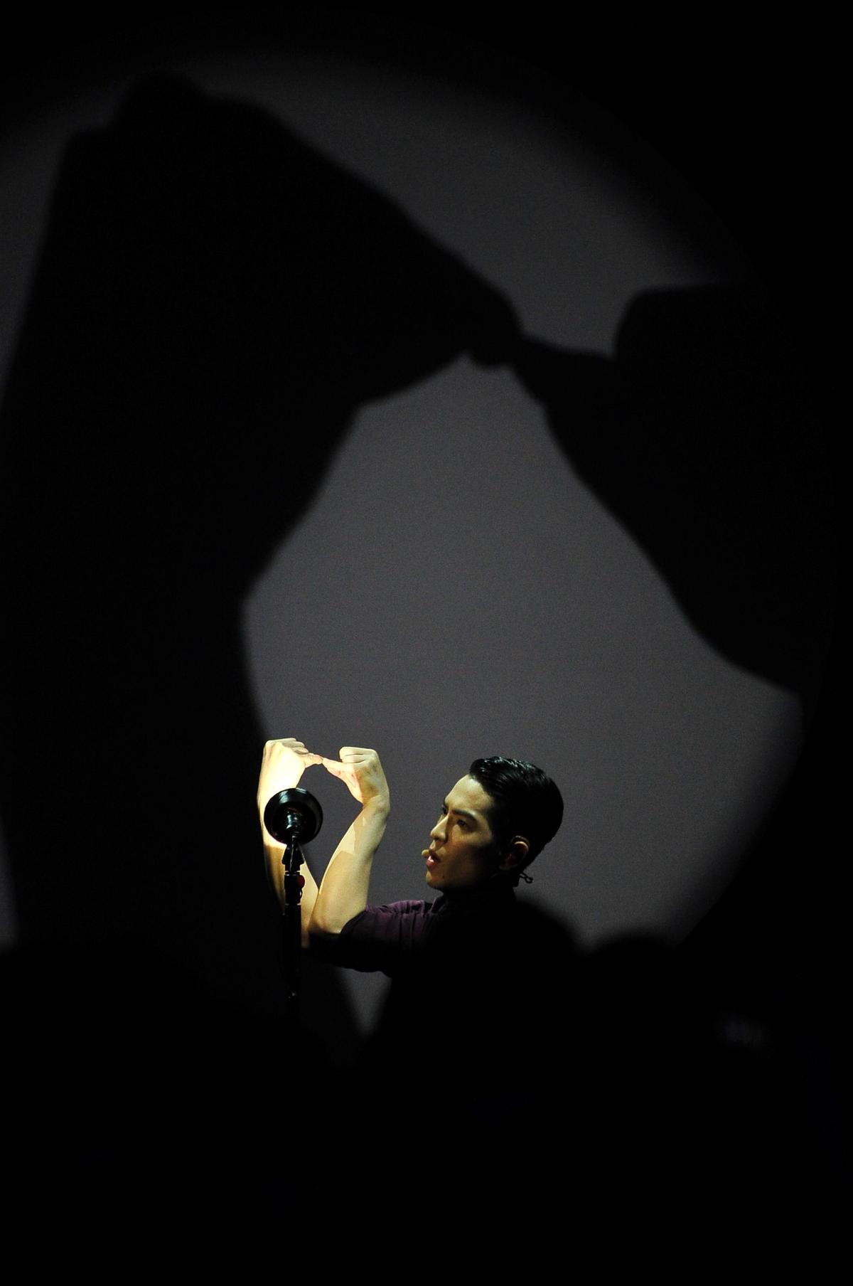 蕭敬騰主持金曲獎時秀出手影戲碼,非常驚豔。(台視提供)
