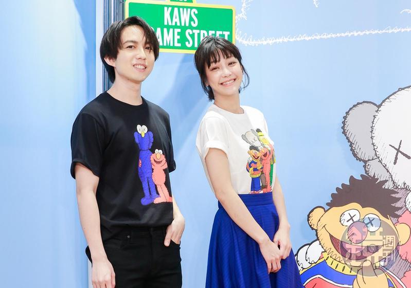 林宥嘉(左)和謝欣穎(右)為服飾品牌站台。