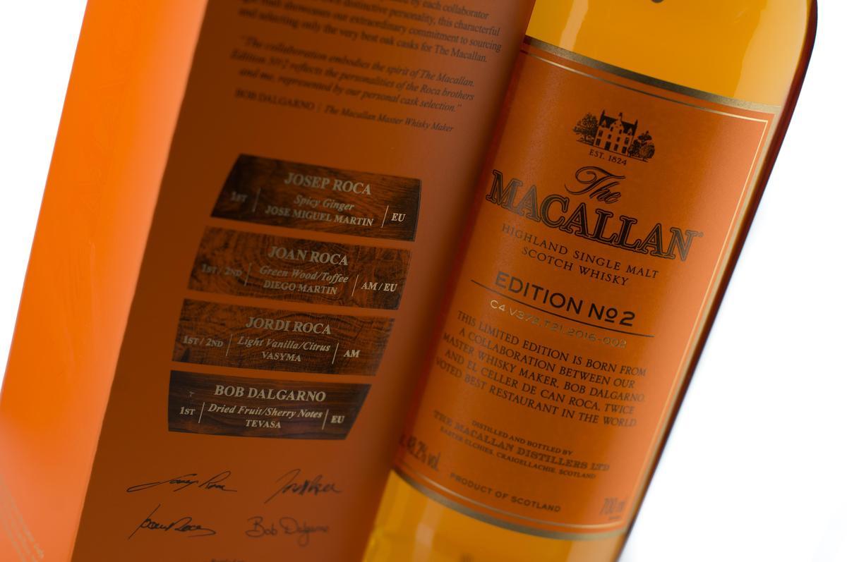 由麥卡倫釀酒大師Bob Dalgarno攜手世界第一餐廳El Celler de Can Roca,在2016年推出的EDITION NO.2,目前也是一瓶難求。(台灣愛丁頓寰盛提供)