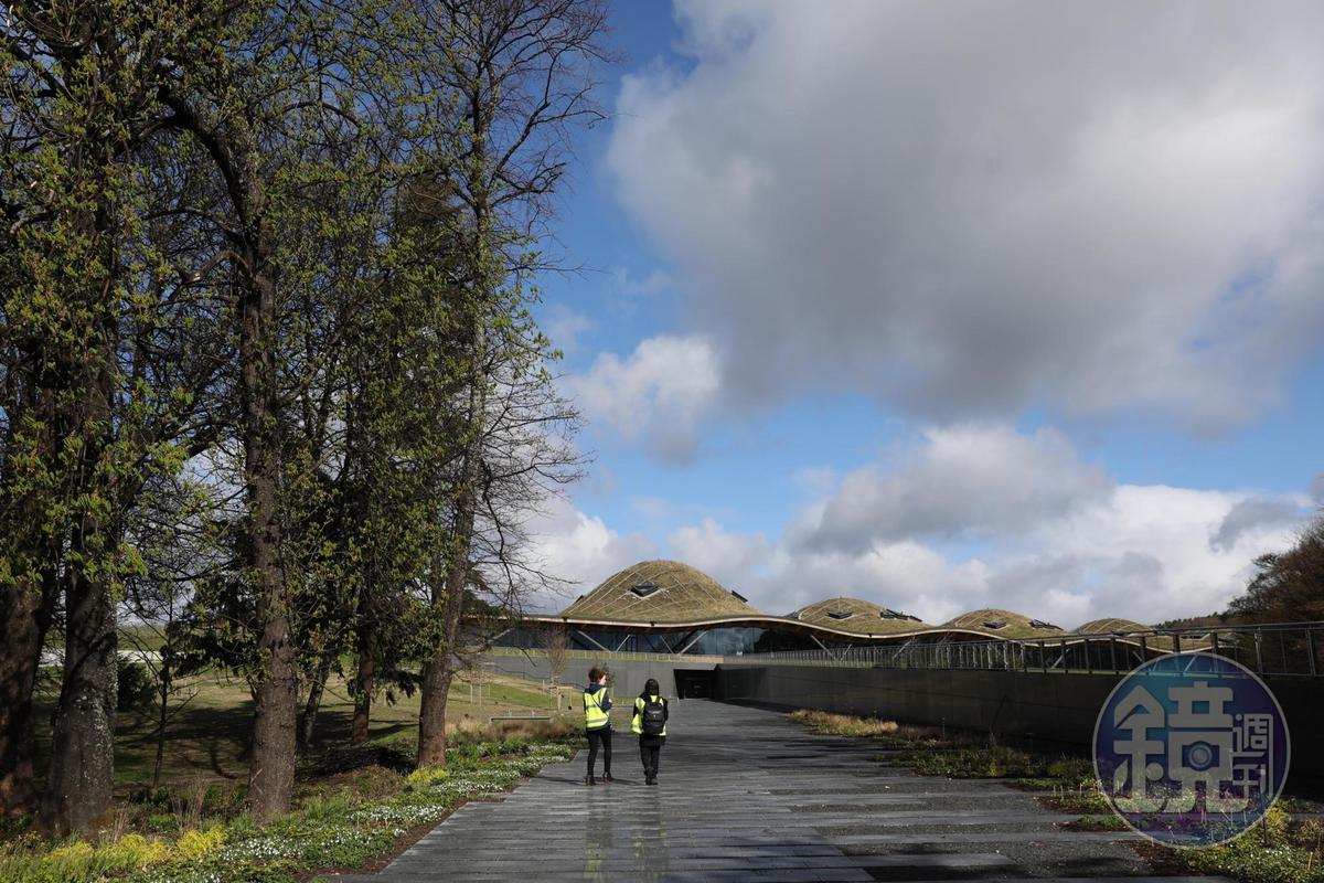 從正面入口望去,新酒廠外型宛如起伏有致的丘陵。