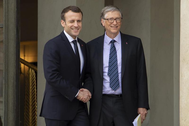 比爾蓋茲會見法國總統討論非洲發展等議題。(東方IC)