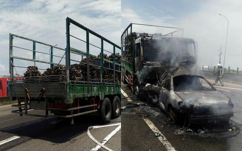 運蚵車司機酒駕追撞小客車引發火燒車,一名乘客當場被燒成焦屍。